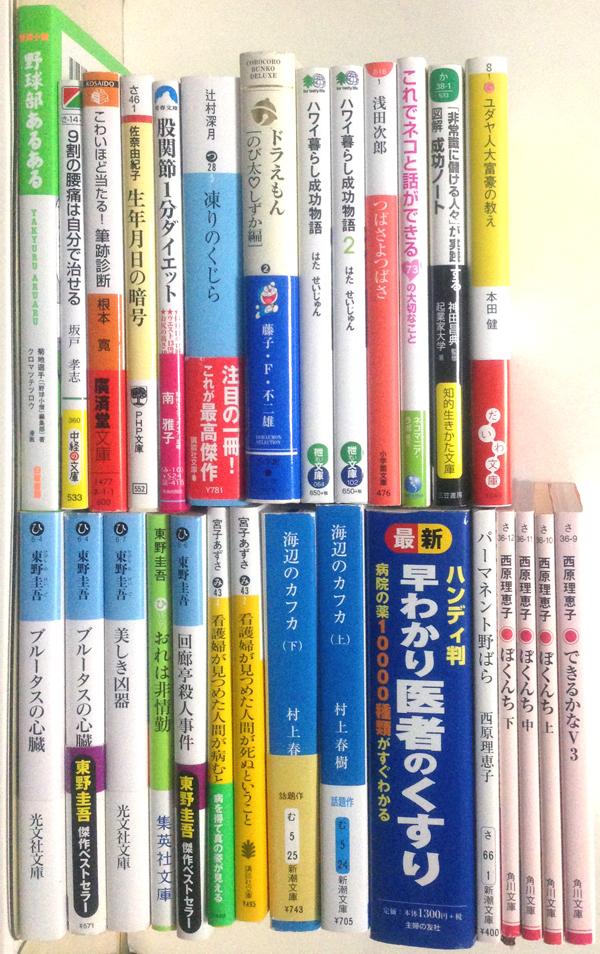 村上春樹、東野圭吾、西原理恵子など文芸・マンガ文庫買取!