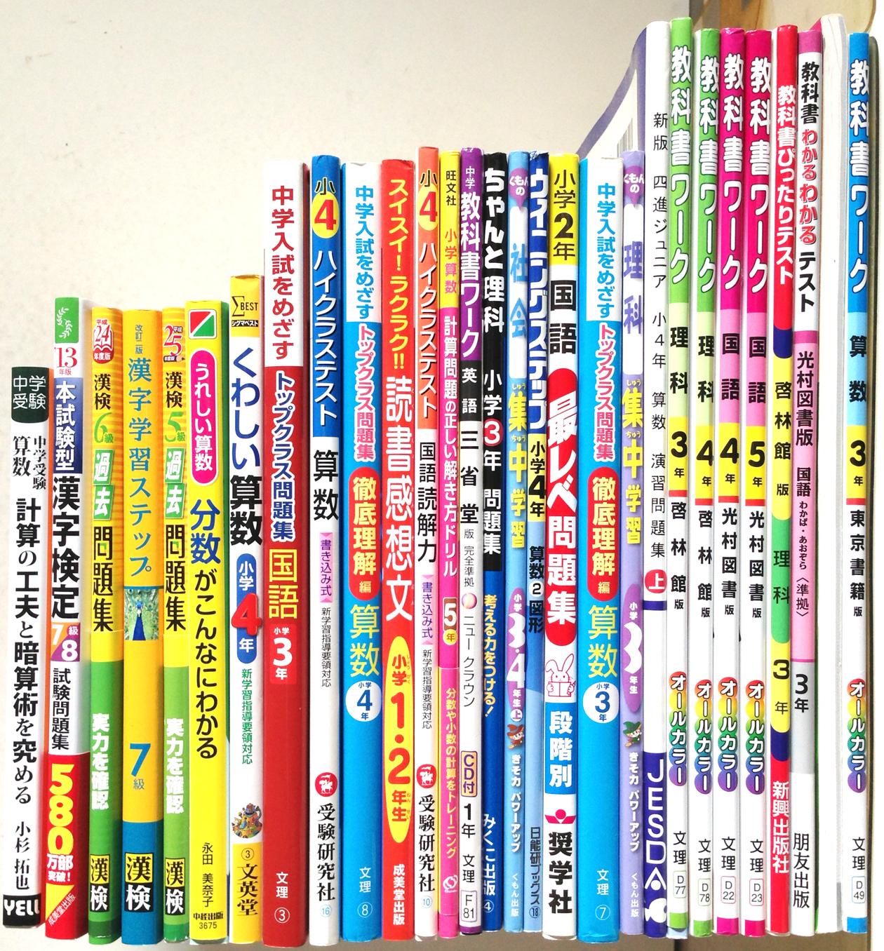 小学生向け学習参考書、テキスト、平成25年度版漢字検定問題集など買取!